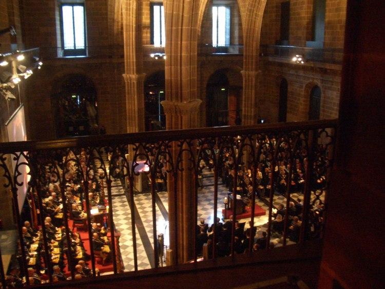 Imagen de una ceremonia de la Gran Logia de España en Barcelona conmemorando sus 25 años de legalización