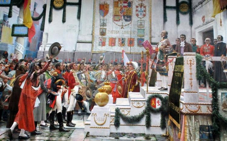 Óleo representando las Cortes de Cádiz durante la proclamación de la Constitución de 1812