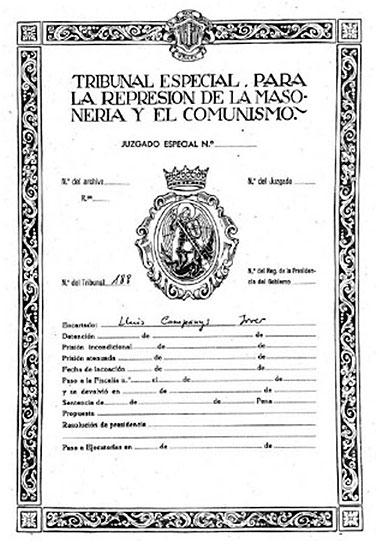 Cubierta del sumario del Tribunal Espcial para la Represión de la Masonería y el comunismo contra Lluís Companys - TERMC Sumario 188