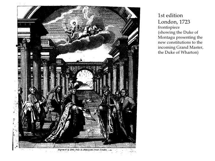 Portada de las Constituciones de 1723