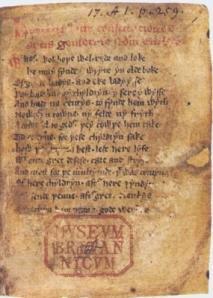 """""""Regius"""" del 1390 Fotocopia de la primera página – escritos en inglés arcaico"""