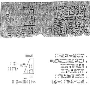 """Un ejemplo interesante del desarrollo matemático, anterior al mismo Pitágoras se puede constatar observando la adjunta fotografía del llamado """"Papiro de Moscú"""""""